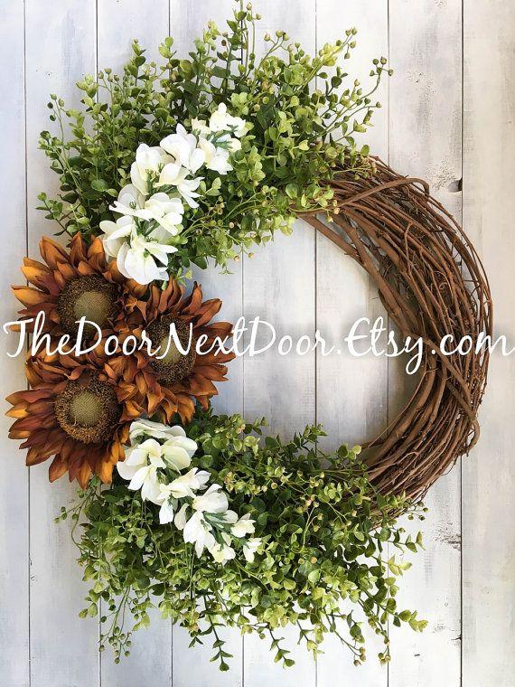 Sunflower Wreath - Red Wisteria Wreath - Fall Wreath For Front Door - Summer Wreath - Outdoor Wreath Wonderful wreath to celebrate any season!