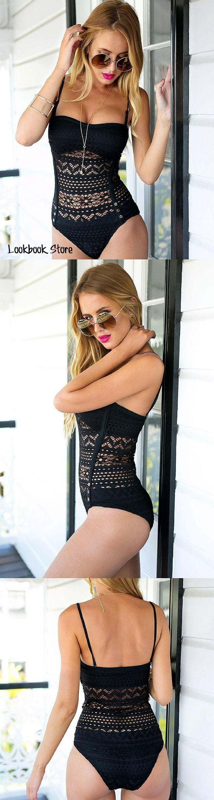 Lookbook Store Amazon // Sexy and classy, let this black lace halter swimsuit trace up your curves this summer.