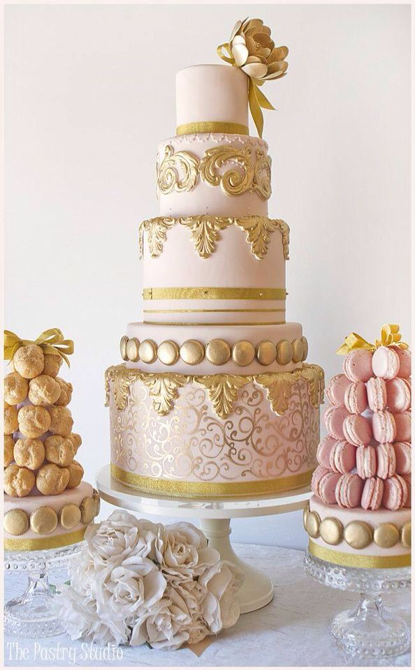 wedding cake embellishments pink 5 tiered cake with gold embellishments and 8637