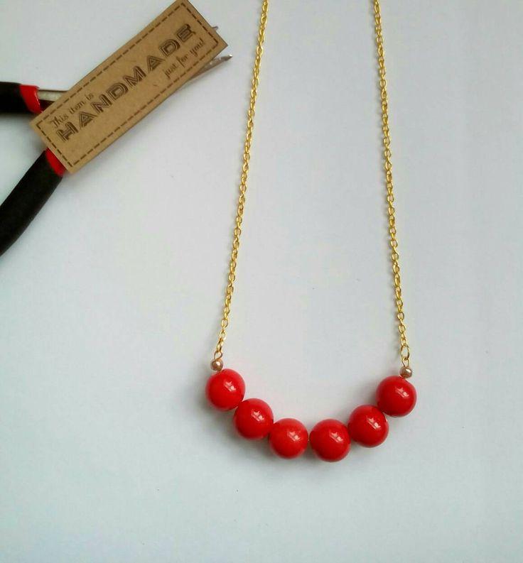 Statement Necklace, Gold Necklace, Red Necklace, Ceramic Necklace, Retro 50's Style, Rockabilly, Americana by VectorCoastUK on Etsy
