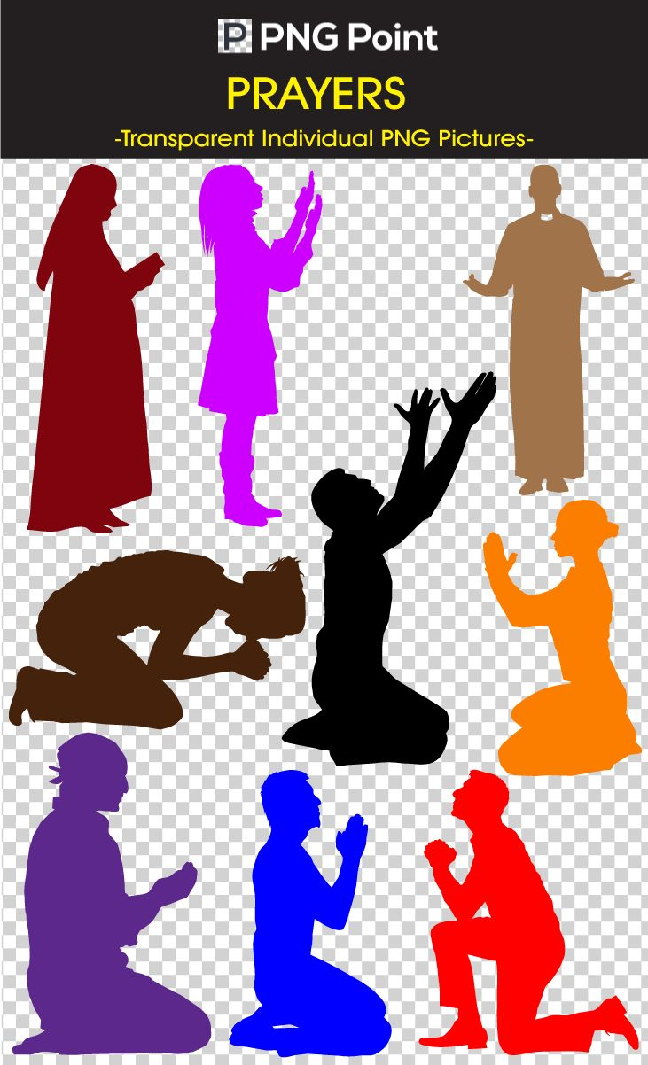Silhouette Images, Icons and Clip arts of Praying People