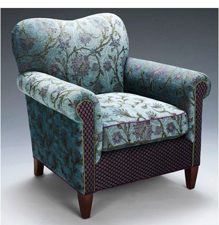 Molly Rose Chair | Seamist Hand crafted upholstered arm chair in aqua and purple. Arguably our most comfortable chair...