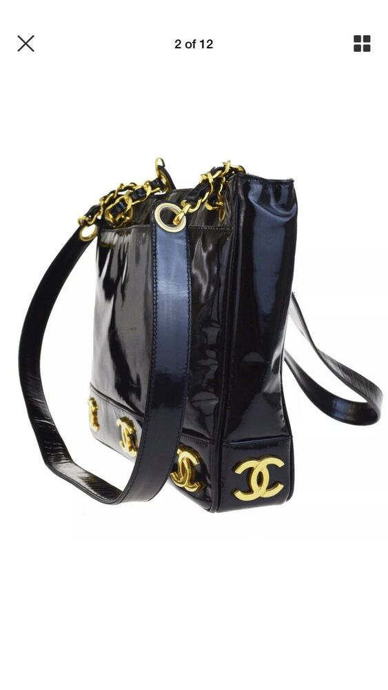 46c28c8938aa Chanel Gold CC Logos Triple Chain Bag Patent Leather Vintage 24K Gold Plate