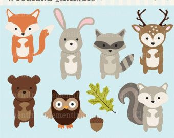 40% OFF SALE Woodland Animals clip art images,  fox clip art, fox vector, royalty free clip art- Instant Download