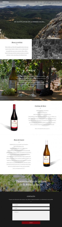 Página web One Page de la bodega Enogal DO La Ribeira Sacra y de sus dos vinos Besos de Laura y Caricias de Sara