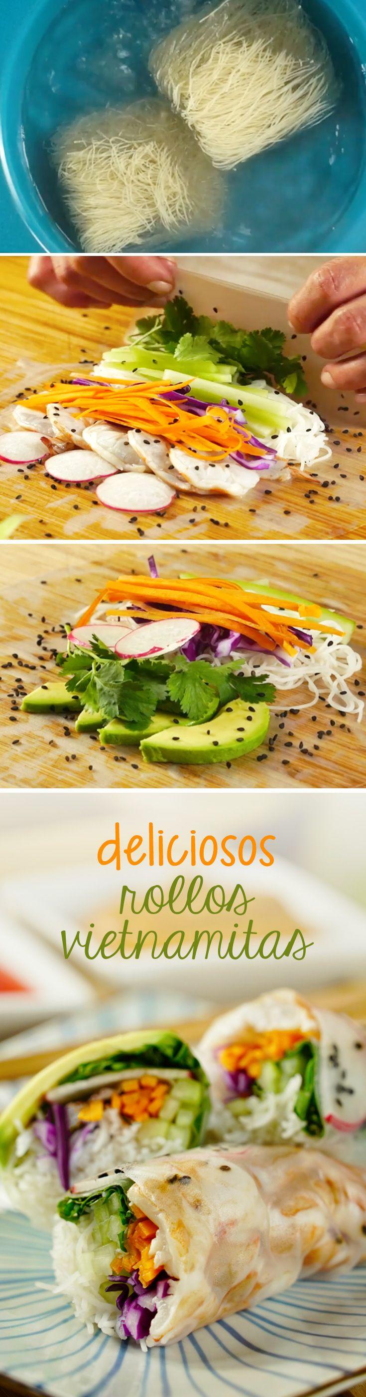Receta de rollos vietnamitas fáciles de hacer en casa. Disfruta de estos rollitos con hoja de arroz y relleno de vegetales típicos de la cocina asiática
