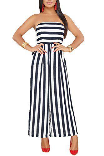 1d1bd5a0faf4 Leezeshaw Womens Off Shoulder Stripes Printed High Waist Wide-Legged Pants  Jumpsuit Romper