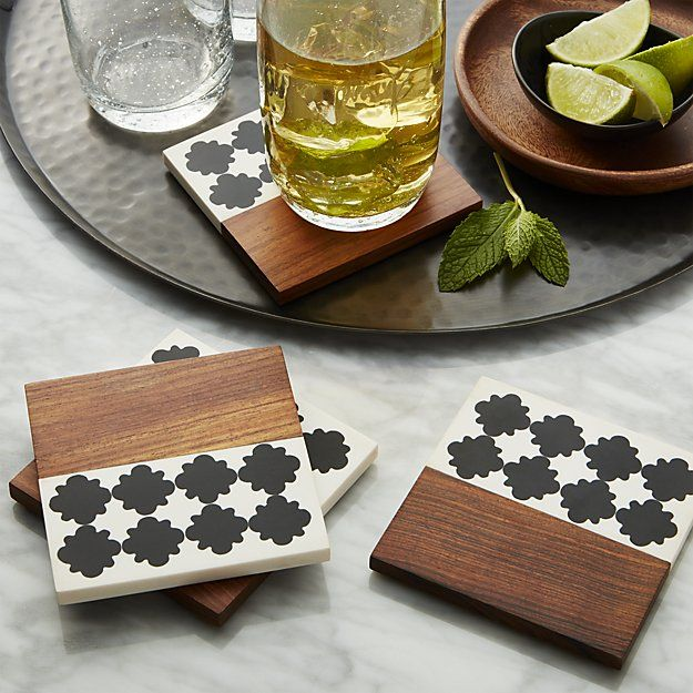 Marrakesh coasters set of four crate and barrel bar accessoriescoaster sethome decor
