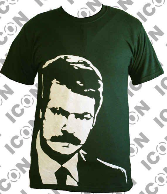 Ron Swanson Profile Green T-Shirt   13 Ron Swanson Etsy Finds! Matt needs this.