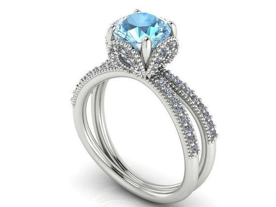 Engagement Diamond Ring, Wedding Rings, Proposal Rings, Disney Princess Cinderella Ring, Wedding Ring, Aquamarine Stone and 72 Diamonds Ring