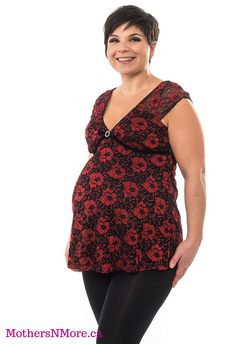 This honey pot and velvet lace top, has rhinestone accents at the bust and ties in the back. #MaternityClothing
