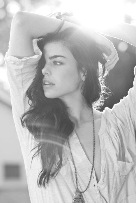 black and white, brunettem long hair, necklace, loose blouse