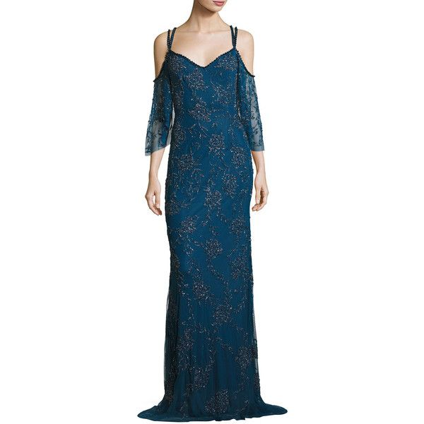 Theia Cold-Shoulder Vintage Beaded Slip Gown ($1,295) ❤ liked on Polyvore featuring dresses, gowns, mallard blue, blue ball gown, blue vintage dress, vintage dresses, blue dress and embellished gown