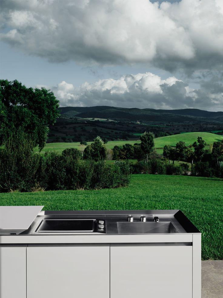 Cocina para exteriores de Corian® K2 OUTDOOR by Boffi diseño Norbert Wangen