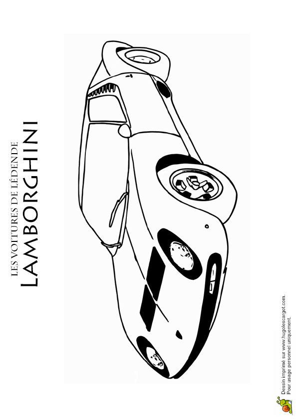 Dessin à colorer d'une voiture de sport légendaire : la Lamborghini Miura