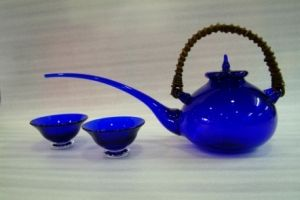 Glass Art (teapot and tea cups) Japanese glass