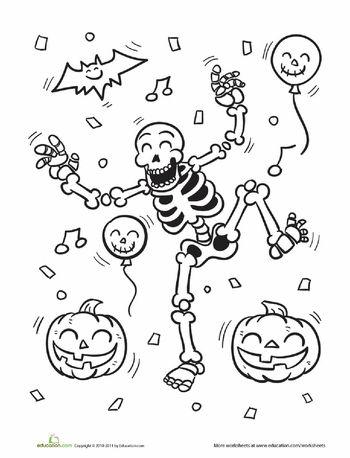Worksheets: Skeleton Coloring Page