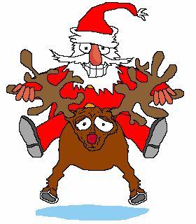 cats and dogswith satas sleigh funny   Funny Christmas animated GIF – Reindeer and Santa running.