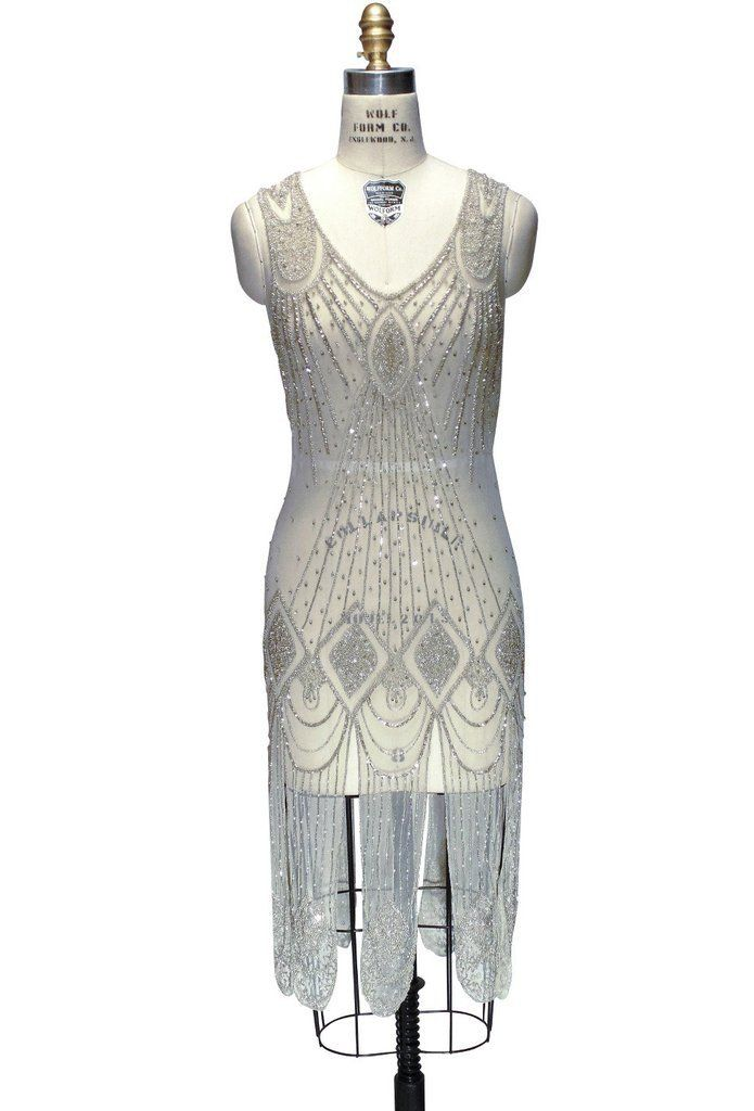 1920s Flapper Dresses Great Gatsby Cocktail Midi Dress in Champagne $330.00 AT vintagedancer.com