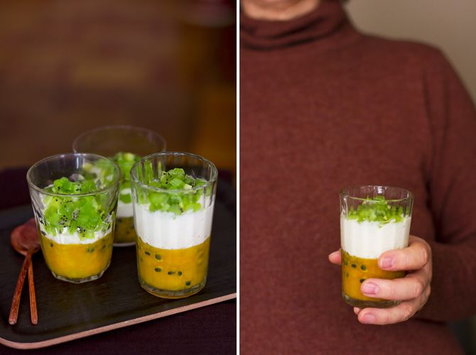 Coconut mousse with passion fruit jelly and kiwifruit