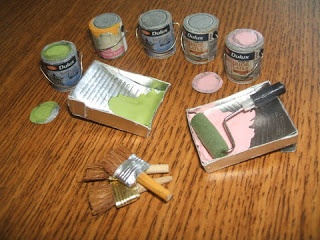 Little Roomers: Paint Tins MARY: Idea, pencil metal eraser end holders squished could be the paint brush metal part.