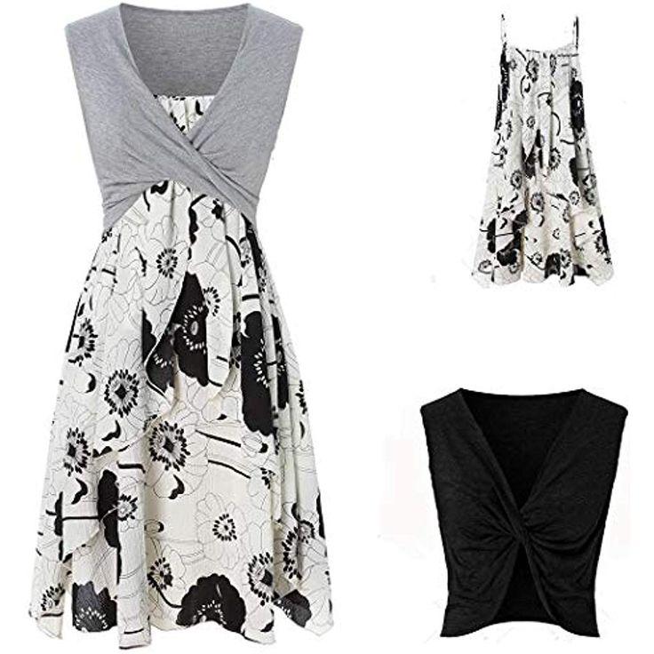 Tomasa- Frauen Sommer Kleid mit Tops Floral Sling Midi Kleid Casual ärmellose T…