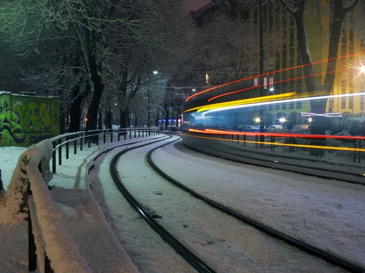 Train on the snow