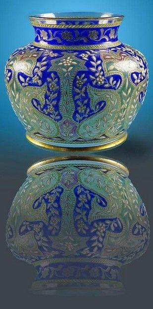 Fritz Heckert Enamelled Glass vase, Islamic interest