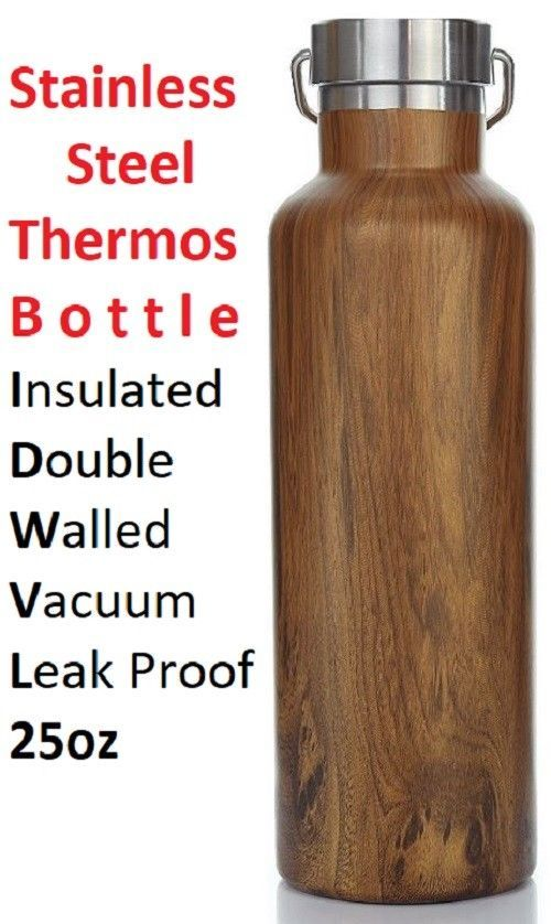 Stainless Steel Thermos Bottle Insulated Double Walled Vacuum Leak Proof 25oz #StainlessSteelThermosBottle