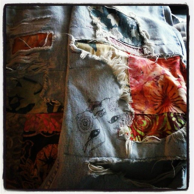 A favorite pair of jeans I've had and worn for years need some more fabric patchy love and art therapy... custom order a pair for yourself! Repin me please.... love, paula #boho #gypsy #paisleymoonstudio