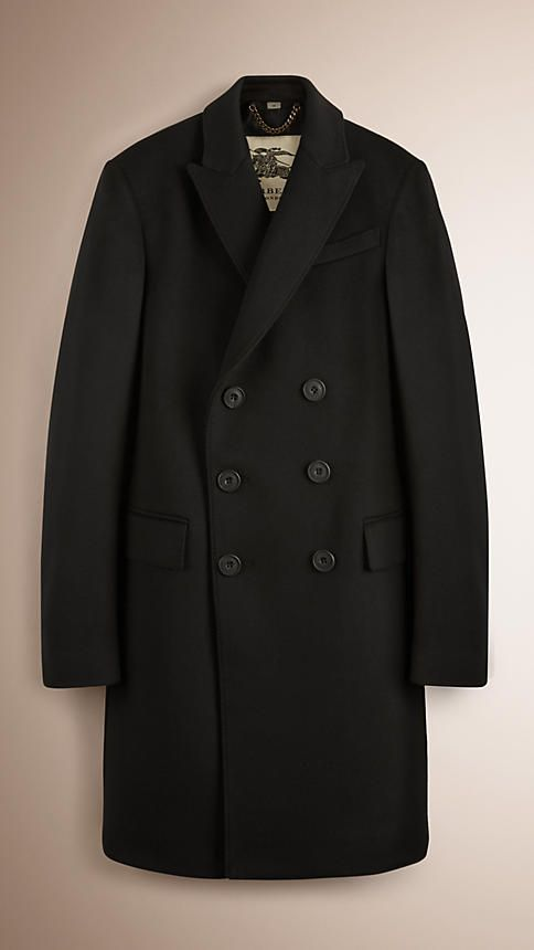 Black Wool Cashmere Peak Lapel Topcoat #burberry #men #fashion