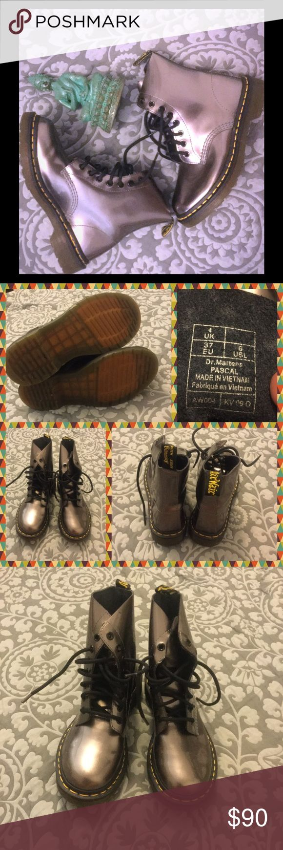 Pewter Dr Martens 💀☠️💀☠️ Excellent used Dr Martens pascal style boots ☠️💀 Super comfy and stylish ☠️💀 These boots are so cute to amp up an outfit and can be used to rain and snow boots ☠️💀 These are the pewter color and are super versatile ☠️💀 The only reason I have to get rid of them is they run a little on the narrow side and the tops of my feet rub up against them too much ☠️💀 No markings, wear or tear ☠️💀 Ellie Goulding style 💙💙💙 Perfect item to bundle for 30%off!! Dr. Martens…