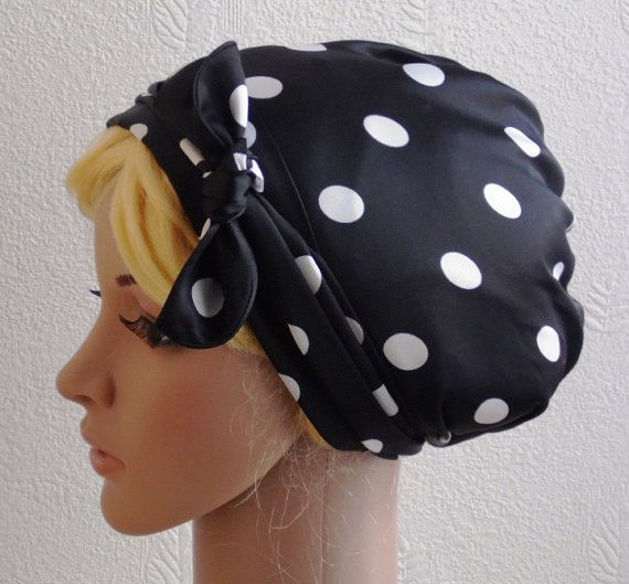 Satin Head Scarf  Polka Dot Headscarf Hair by accessoriesbyrita