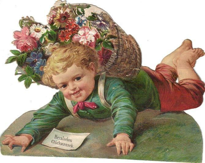 Victorian Die Cut Scrap Little Boy Happy Birthday Wishes c1880s picclick.com