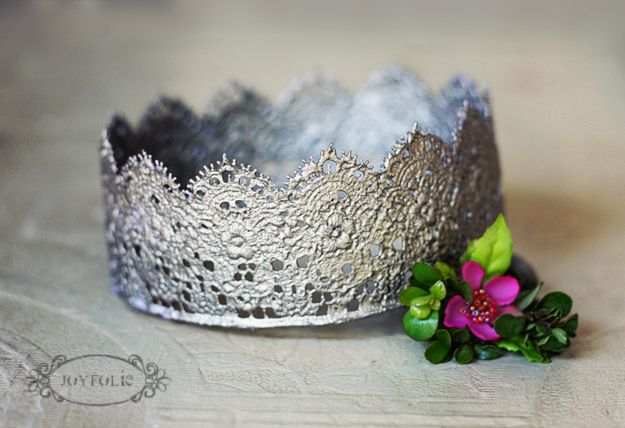 crowns made from lace, mod podge, and paint (joy folie). we would have loved these for dress-ups.