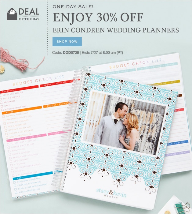Keep your wedding to-do list organized! Enjoy our ONE DAY SALE with 30% OFF ERIN CONDREN WEDDING PLANNERS Code: DOD0726 | Ends 7/27 at 8:00 am (PT)