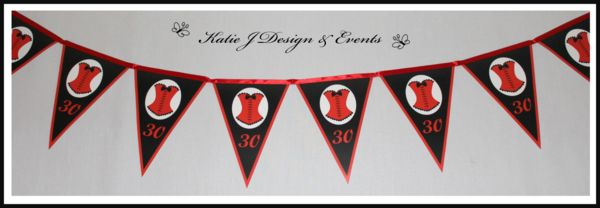 Pennant Banner Bunting #Burlesque #Corsette #1920s #Gangster #Flapper #18th #21st #30th #HensNight #BacheloretteParty #ladies #PartyDecorations #Heels #Martini #GirlsNightOut #Hens #Night #Bachelorette #Divorce #Birthday #Bunting #Party #Decorations #Ideas #Banners #Cupcakes #WallDisplay #Wine #Labels #PartyBags #Invites #KatieJDesignAndEvents #Personalised #Creative