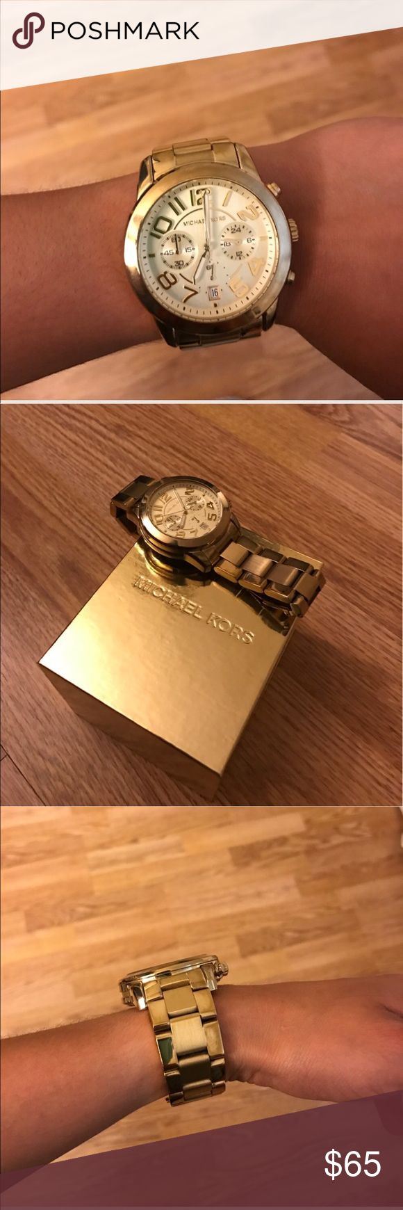 MichaelKors Gold-Tone Ladies Watch⌚️price dropped! Used watch no huge scratches . Gold Tone Watch Measuring Approximately 45 Mm Across The Face. Cult Classic Watch By Michael Kors Perfect For Day Or Night! Gentle Wear And Tear. Slight Discoloration on side & Link But Won'T Be Seen When Watch Clasp Closed. A Must Have! I have the links & return tag . Purchased @ Macy's . Battery recently replaced . MICHAEL Michael Kors Accessories Watches