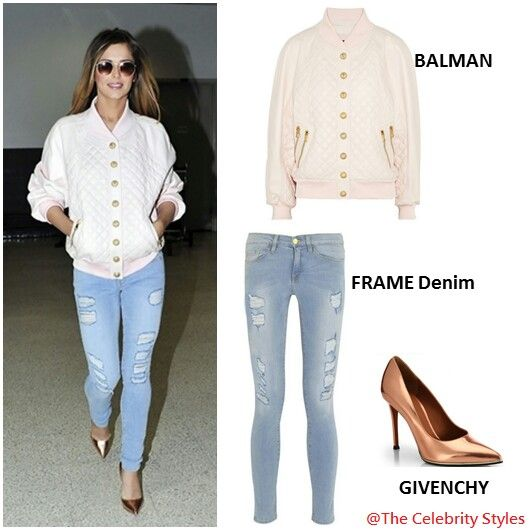 Cheryl Cole was wearing a Balmain Resort 2014 pink quilted bomber jacket during her way through LAX on April 27 Sunday, she matched with a pair of Frame Denim jeans and accessorized with Givenchy metallic-copper pumps and Ray Ban aviator shades!  #streetchic #look #bomberjacket #LAX #FrameDenim #accessories #Givenchy #pumps #RayBan #CherylCole #Sunday #sunglasses #shades #jeans #Balmain #fashion #WhoWearsWhat #WhoWoreWhat Price:  Balmain Jacket MYR 18,811 (USD $ 2,427)  Frame Denim Jeans MYR…