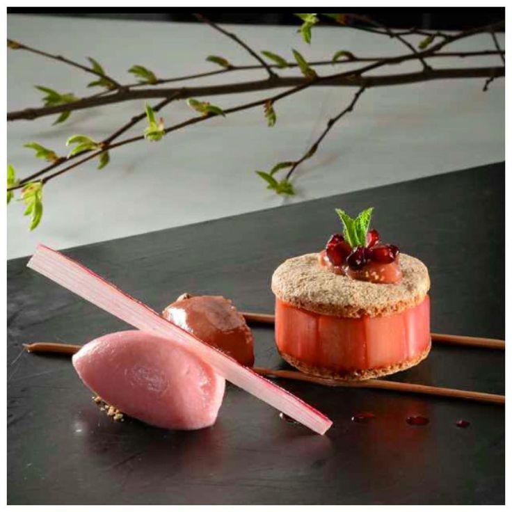 Seasonal dessert of strawberries and rhubarb by chef Georges Wegner @relaischateaux #summer #seasonal #dessert #sweet #chef #foodie #food #michelin #foodart #foodporn #foodphotography #fourmagazine