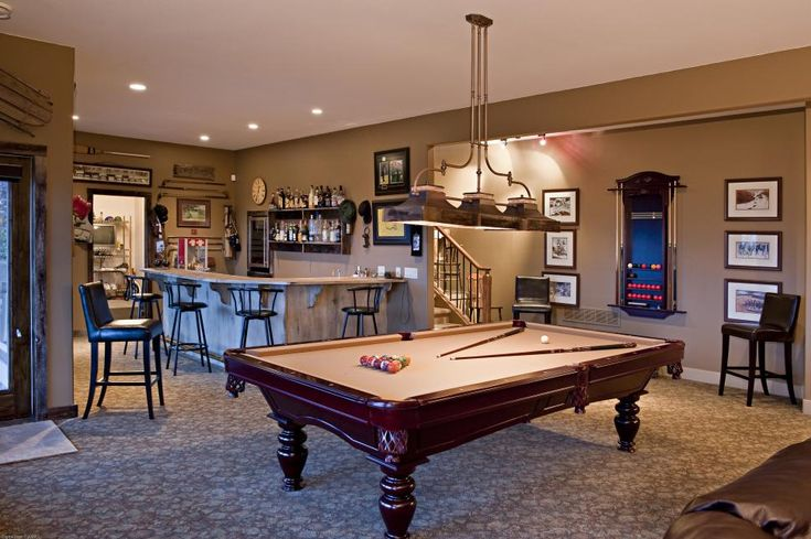 Daylight Basement Game Room With Bar Inside And Out