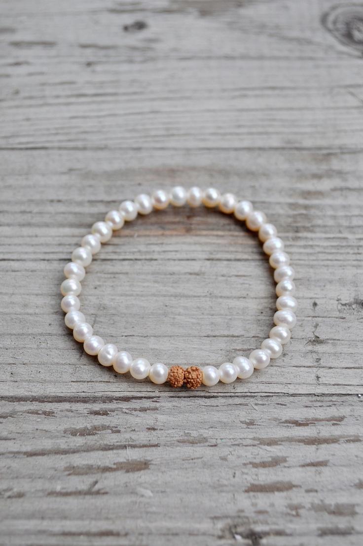 Wedding Pearls Bracelet | $70 Feel angelic on your special day with the Wedding Pearls Bracelet. #malabeads #wedding #pearls #necklace #bracelet #bride #boho