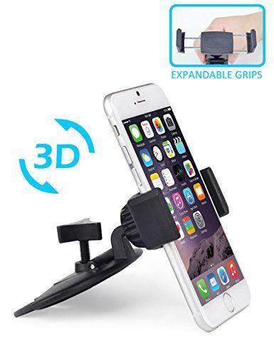 Support Téléphone pour Lecteur CD, APPS2CAR Support Smartphone Portable Voiture Universel Rotation 360° pour iPhone 6 S6 6S 6S 5/5S,…