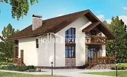 155-001-П Проект двухэтажного дома мансардой, гараж, красивый домик из пеноблока