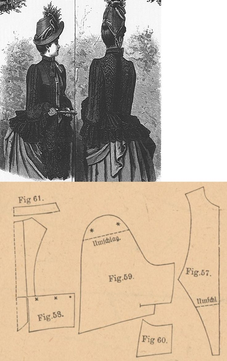 Der Bazar 1887: Black reps-ottomane springtime mantelet with black taffeta lining and lace and braiding adornments; 57. front part, 58. back part in half size, 59. and 60. over and under pelerine-sleeve parts, 61. collar in half size
