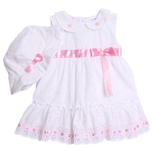 0d35cd63e BT Kids Newborn Baby Girls 3 Piece White Pink Eyelet Dress Bloomers ...