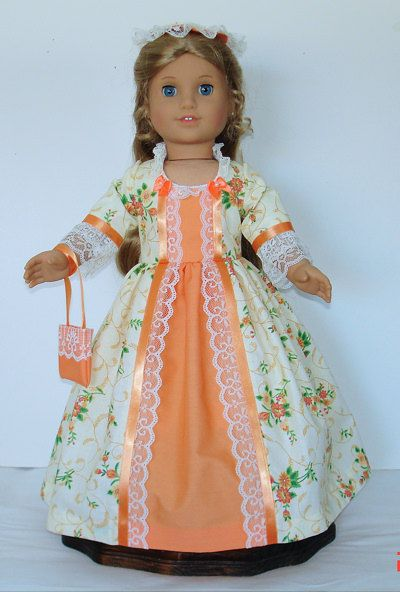 Mellon and cream Tea dress Created for American Girl doll  Felicity or Elizabeth  No. 583
