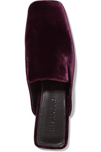 Heel measures approximately 10mm/ 0.5 inch Burgundy velvet Slip on Designer color: Bordeaux Made in Italy  Small to size. See Size & Fit notes.