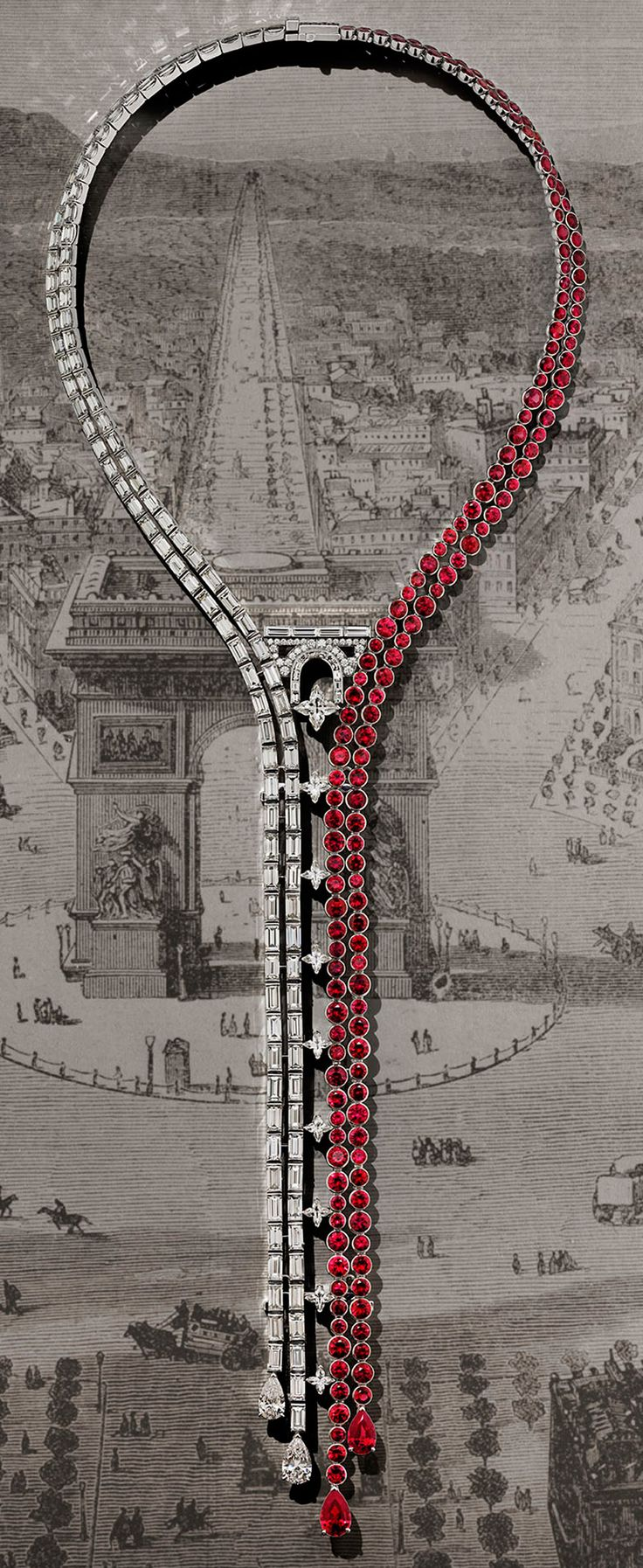 The spectacular Champs Elysées necklace by Louis Vuitton from the Escale á Paris high jewellery collection. Photograph by Coppi Barbieri for Louis Vuitton