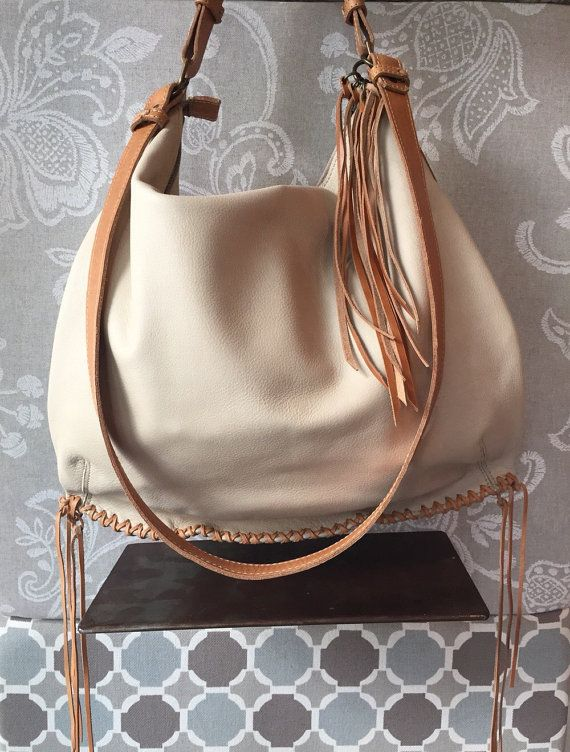 Cream hobo bag natural purse soft leather bag cream by Percibal